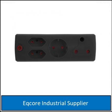 Adaptor 3Pin 1 X 16 Amp +1 Xsko +2 X 5 Black