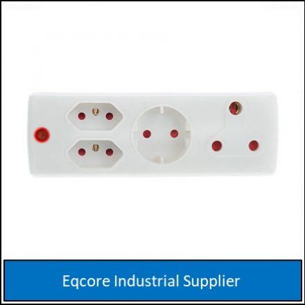 Adaptor 3Pin 1 X 16 +2 X 5Amp White