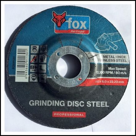 Abrasive Fox Grinding Stainless Steel 115 X 6 mm Pro