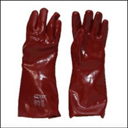 Glove Brown Pvc 27Cm Open Cuff Terry Palm