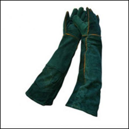 """Glove 16"""" Green Lined Shoulder Length"""