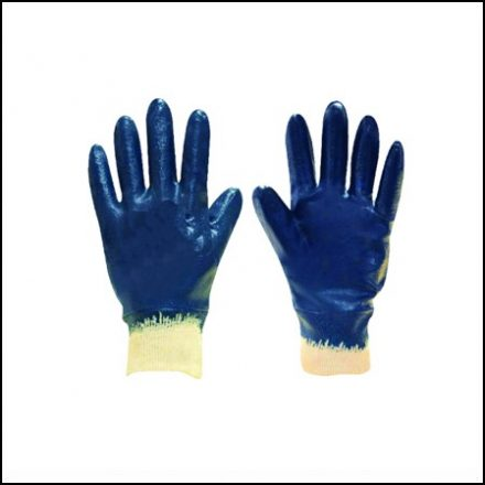 Glove Blue Nitrile Knit Wrist