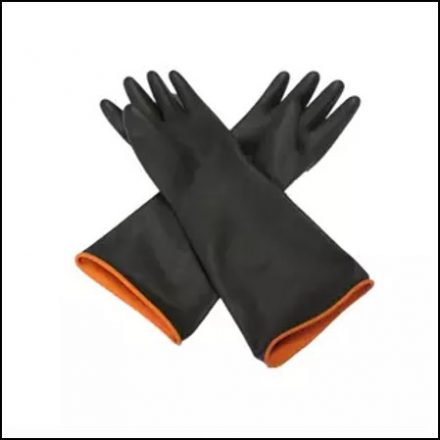 Black Industrial Rubber Glove Smooth Palm 40Cm