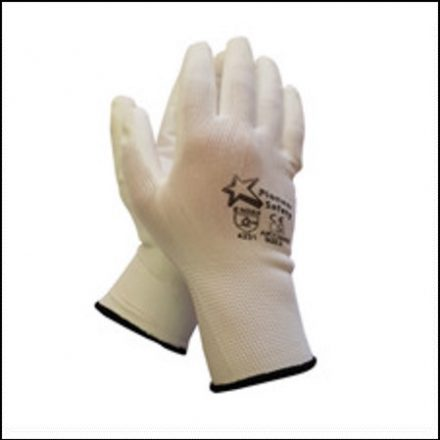 Glove White Pu Coated Inspector Glove