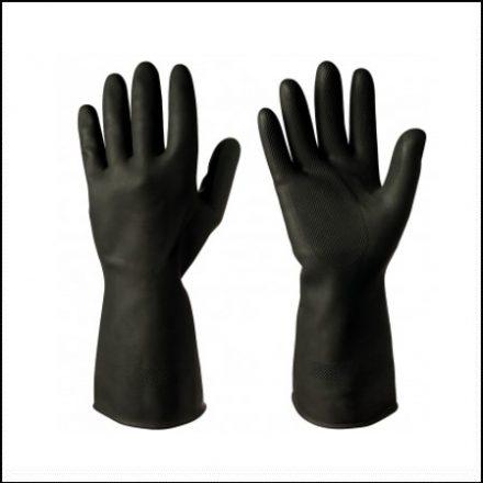 Glove Flock Lined Black Rubber Glove Akl