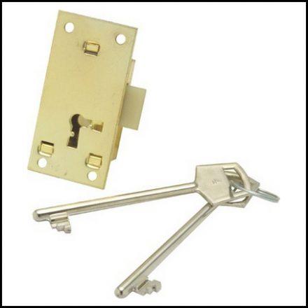 Mackie Lock Cupboard Brass 2L2K 64mm Set