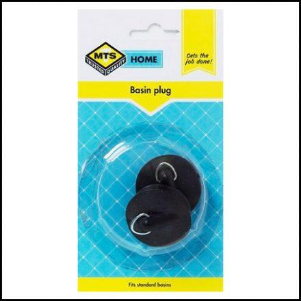 Mts Home Basin Plug Rubber Black 2 Piece