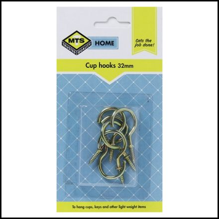 Mts Home Cup Hooks 32mm Brass 6Pc