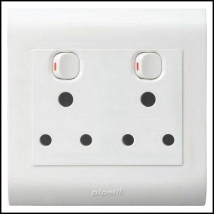 Elec Mts Socket Double 4X4 Pvc Strip